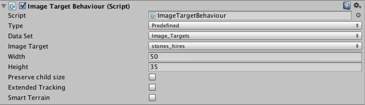 Image Target Inspector Panel