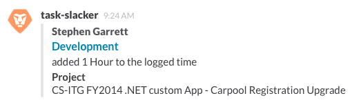 Screenshot of workfront update appearing as a formatted slack attachment
