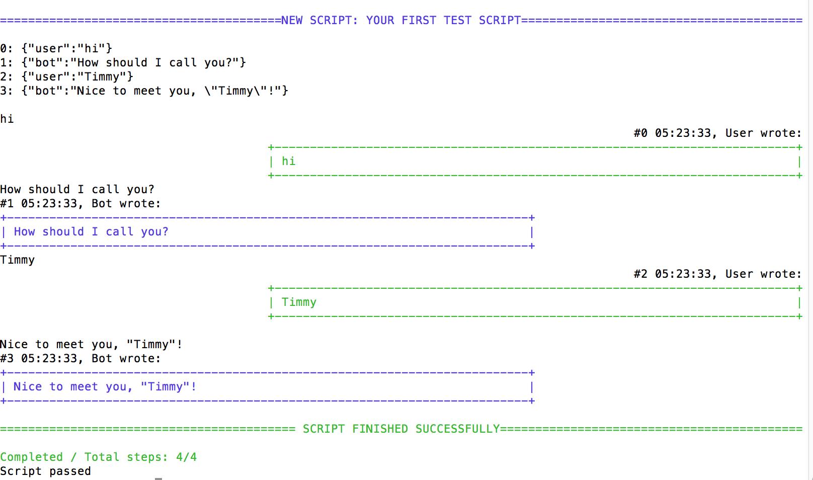 Script output for sample script