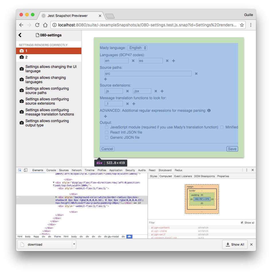 Jest-HTML and Chrome's devtools