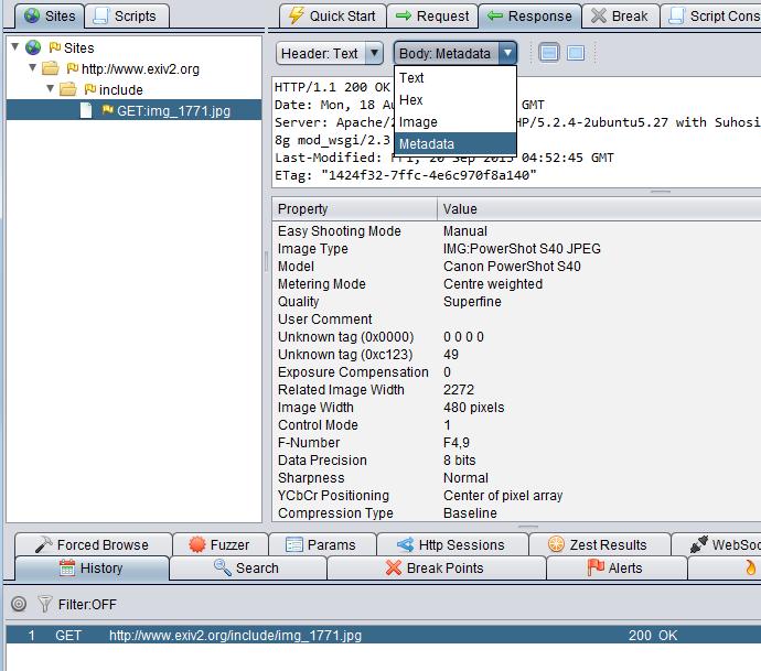 Image Metadata ZAP plugin