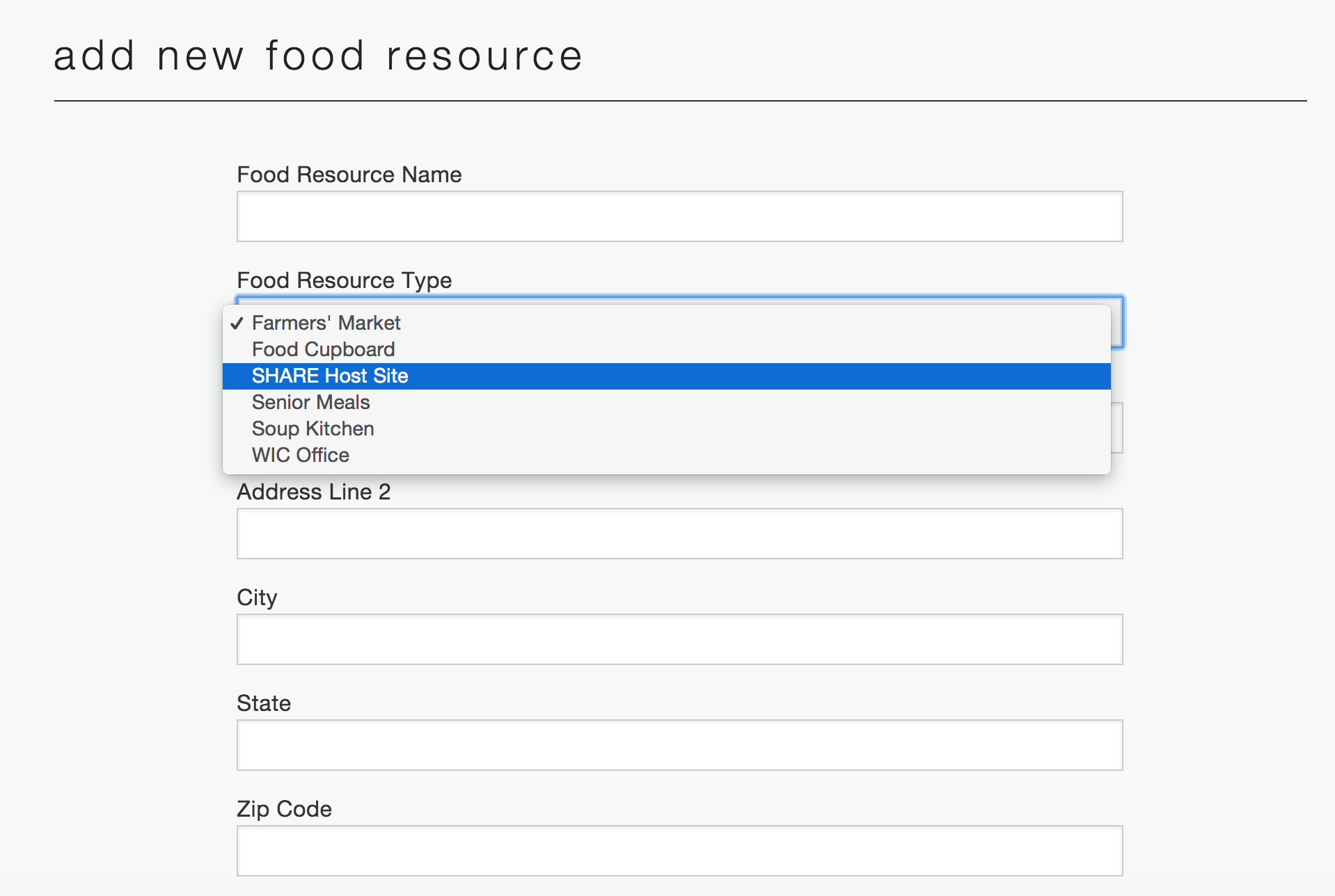 Add new food resource