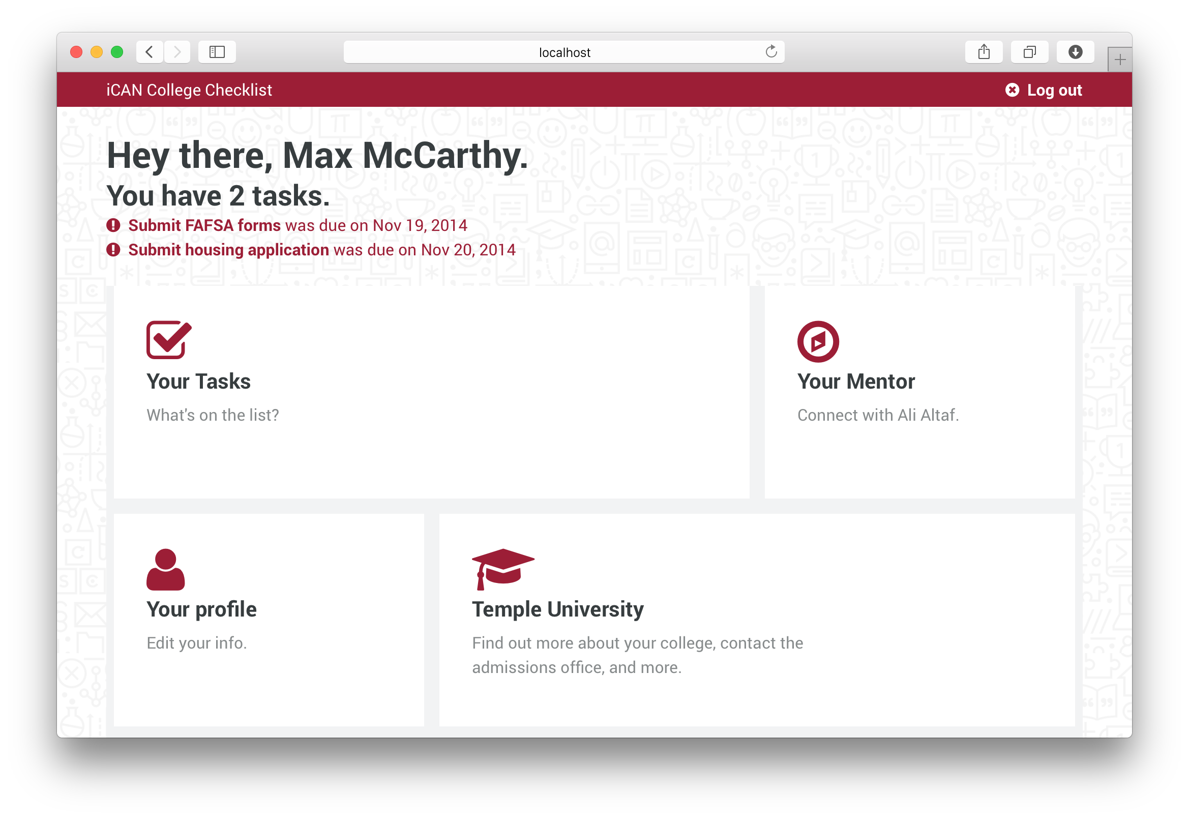 Account page with Your Tasks, Your Mentor, Your Profile, and Your College