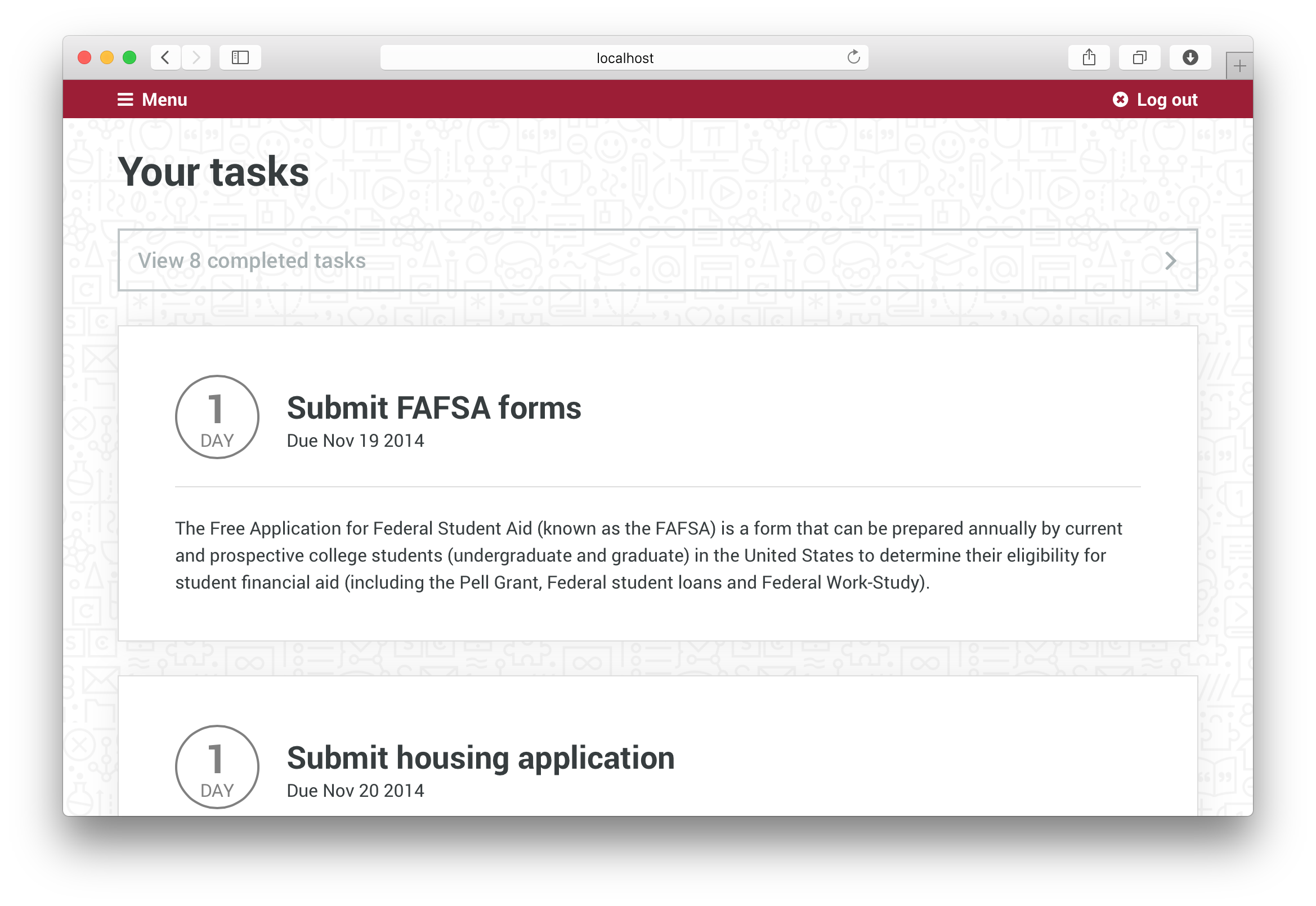 Your Tasks page with completed tasks and upcoming tasks