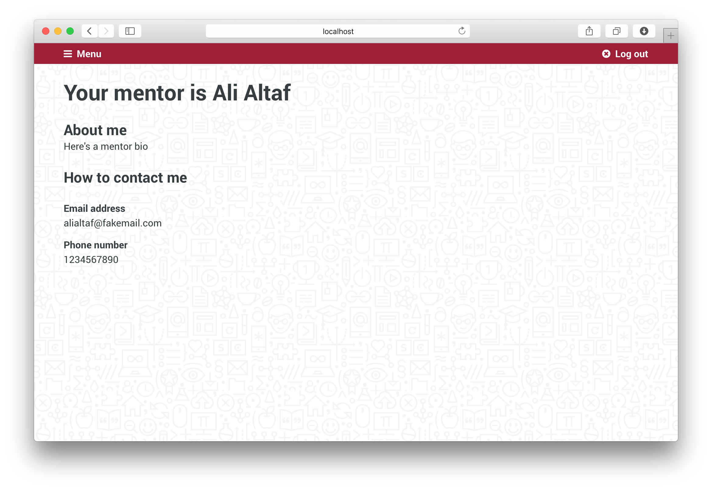 Your Mentor page with contact information