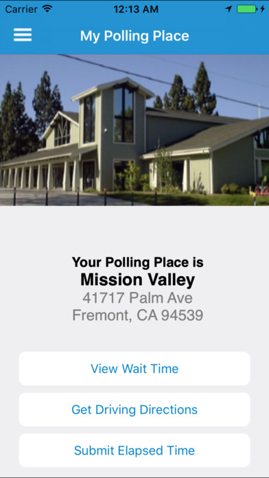 My Polling Place with address and buttons to View Wait Time and Get Driving Directions