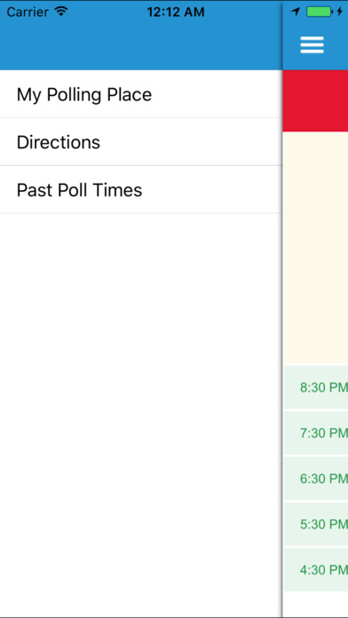 Menu with My Polling Place, Directions, and Past Poll Times