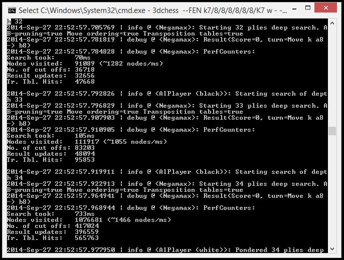 Sample snippet of debug output