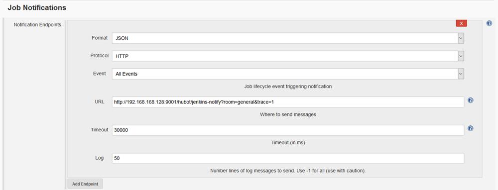 Jenkins Notifier Plugin Config Screenshot
