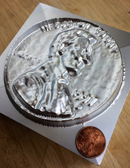 """Penny - Milled from 4""""x4"""" block of 6061 Aluminum"""