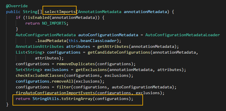 selectImports()