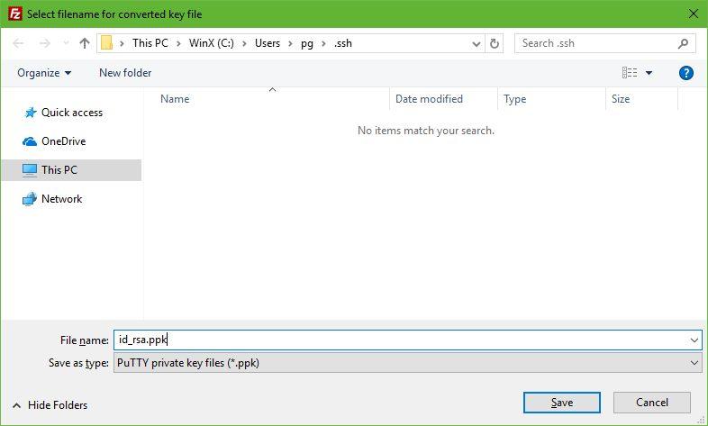 Cara Setting SFTP Pada Droplet VPS DigitalOcean-Simpan File id_rsa.ppk
