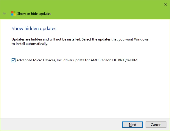 Windows 10 Show or Hide Updates Tool - Hidden Update