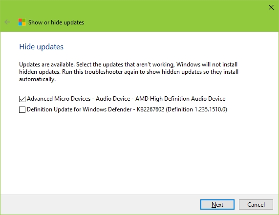 Windows 10 Show or Hide Updates Tool - Hide Update