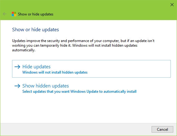Windows 10 Show or Hide Updates Tool - Hide or Show Update Option