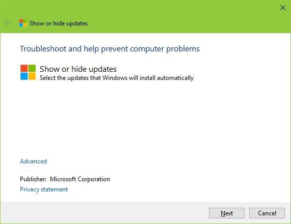 Windows 10 Show or Hide Updates Tool