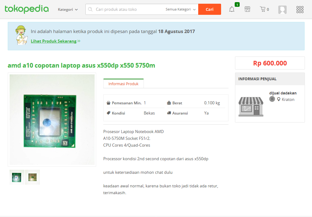 Tokopedia Jual AMD A10-5750m