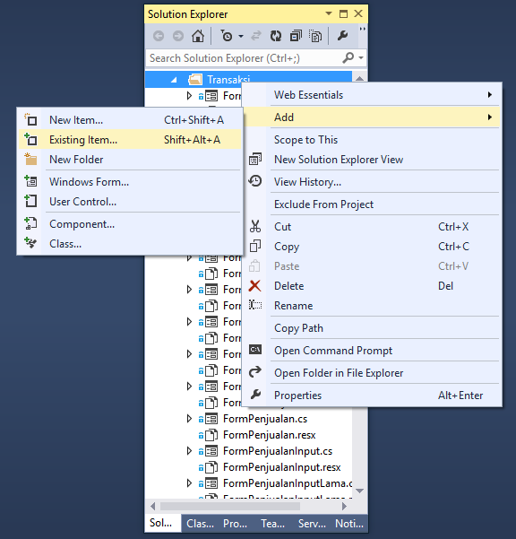 Add Existing File Solution Explorer Visual Studio
