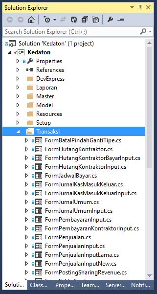 File Nested Kembali di Solution Explorer Visual Studio