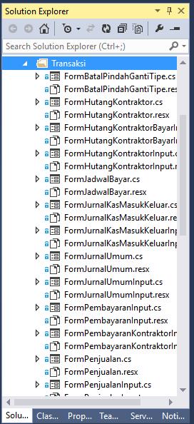 File Terpisah di Solution Explorer Visual Studio
