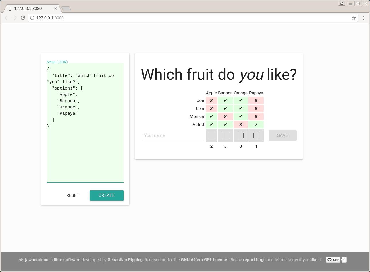 Screenshot of poll creation in jawanndenn