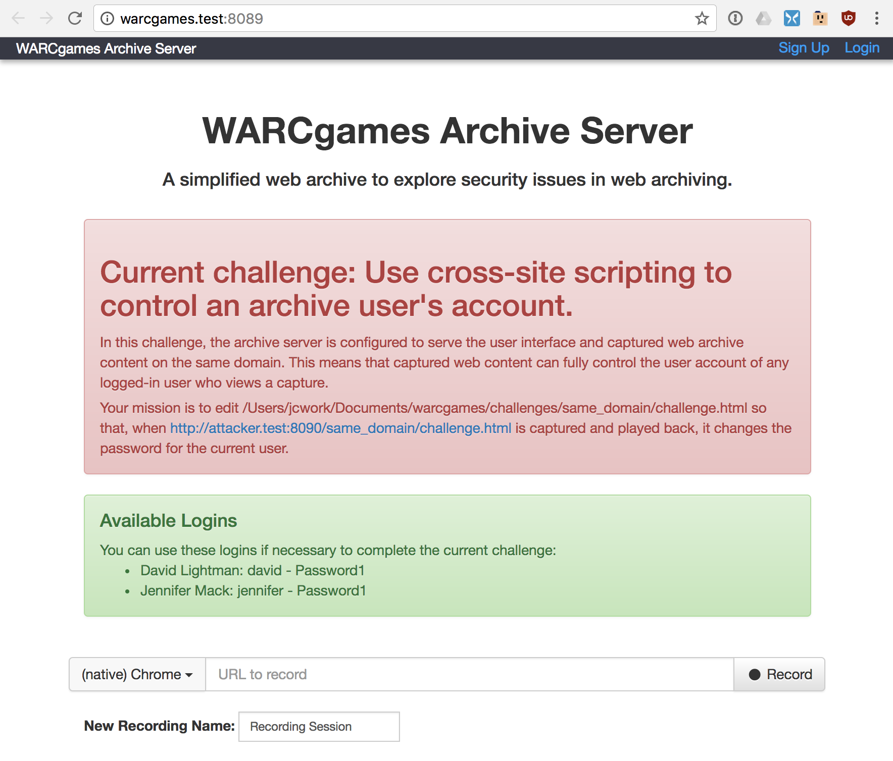 WARCgames browser screenshot