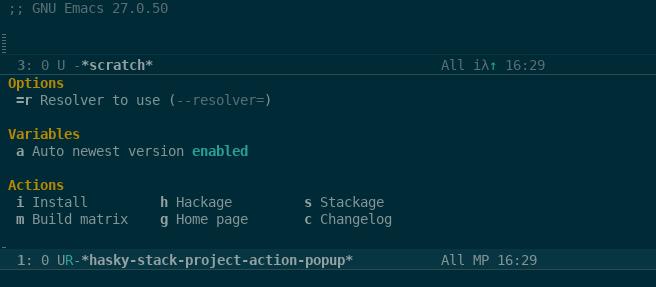 Package action menu