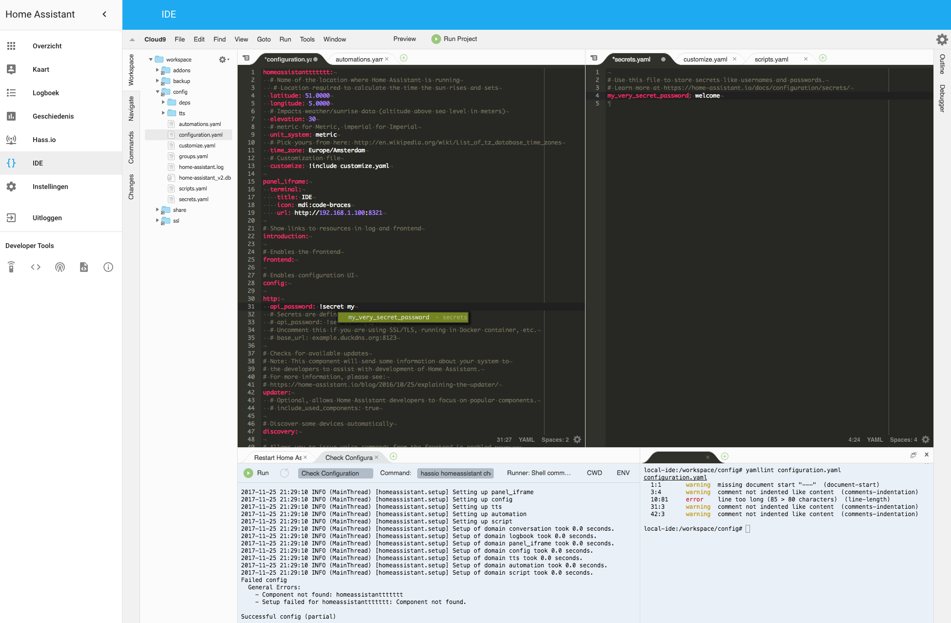 IDE in the Home Assistant Frontend