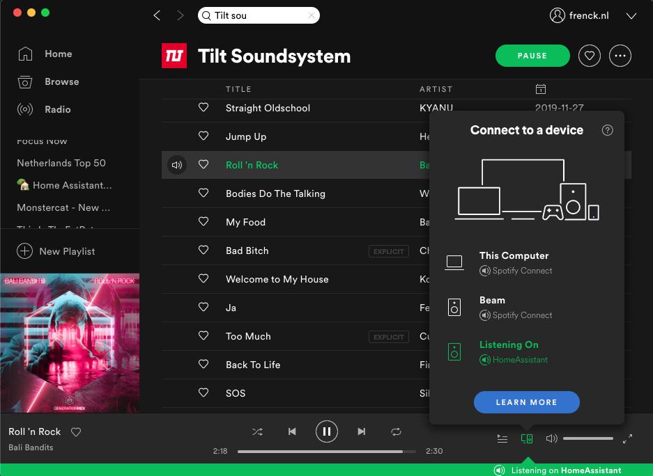 The Spotify Connect add-on