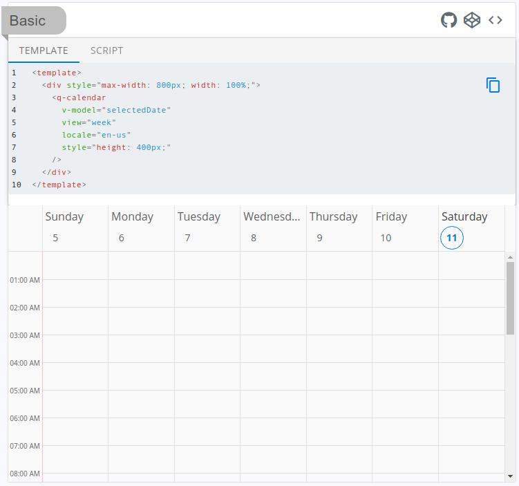 example-viewer showing QCalendar (week view)