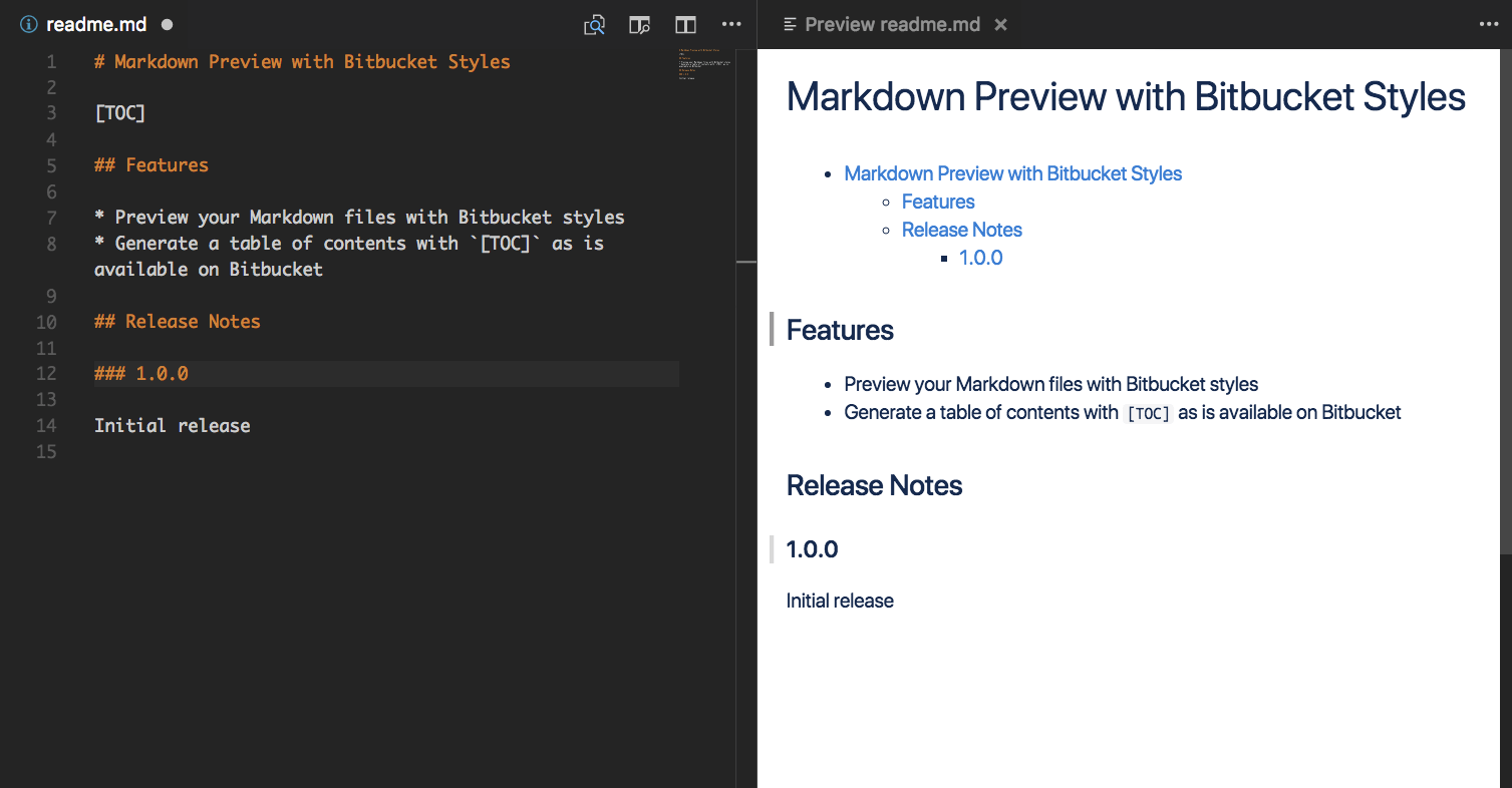 Markdown Preview with Bitbucket Styles