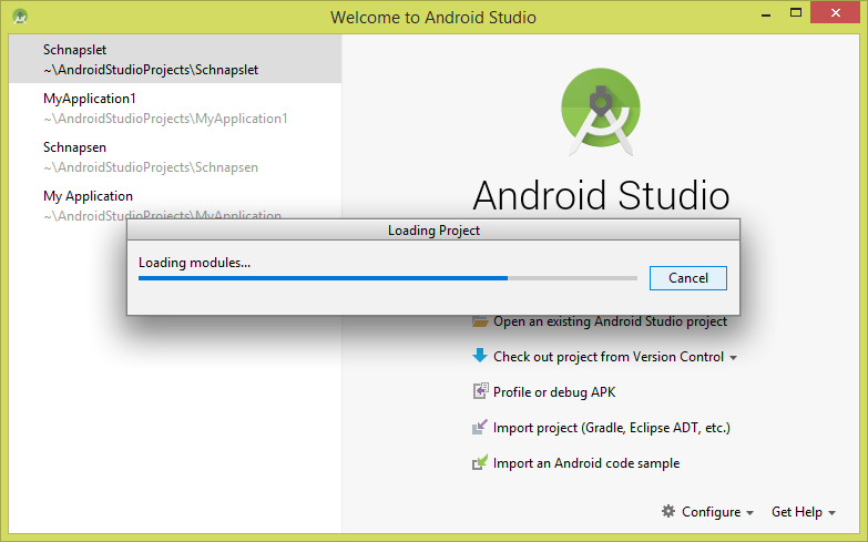 Android Studio starting