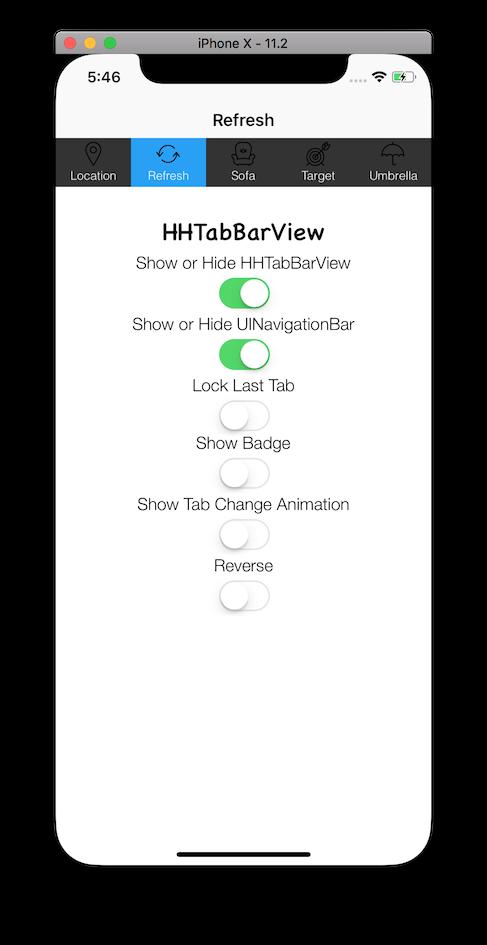 HHTabBarView top position (iPhoneX)