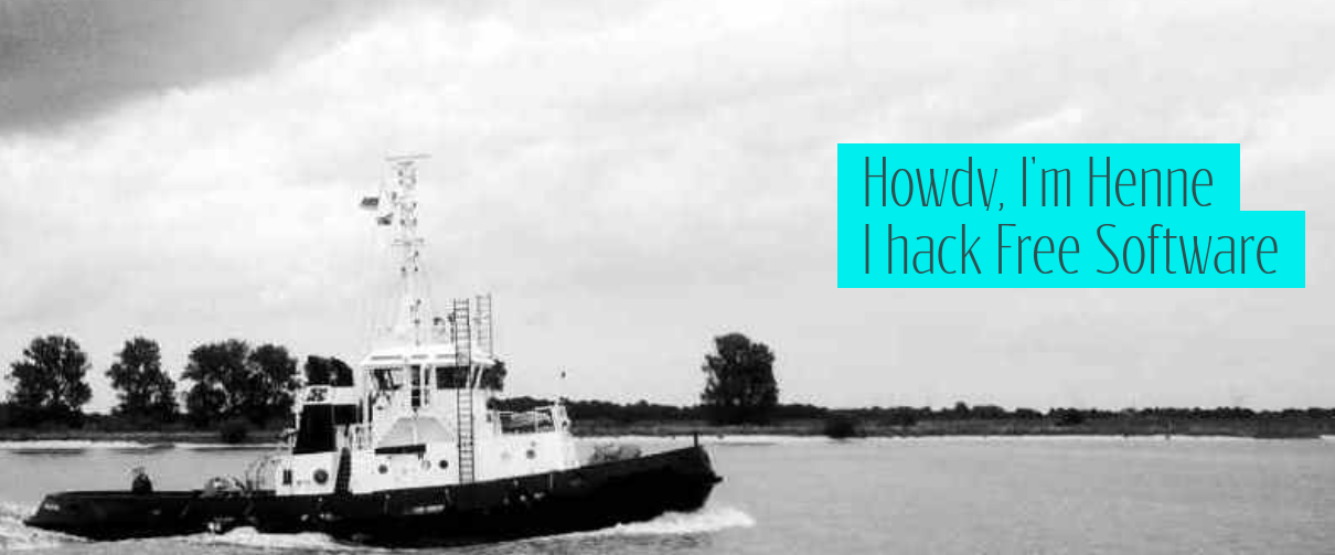 A tugboat and the sentence Howdy, I'm Henne I hack Free Software