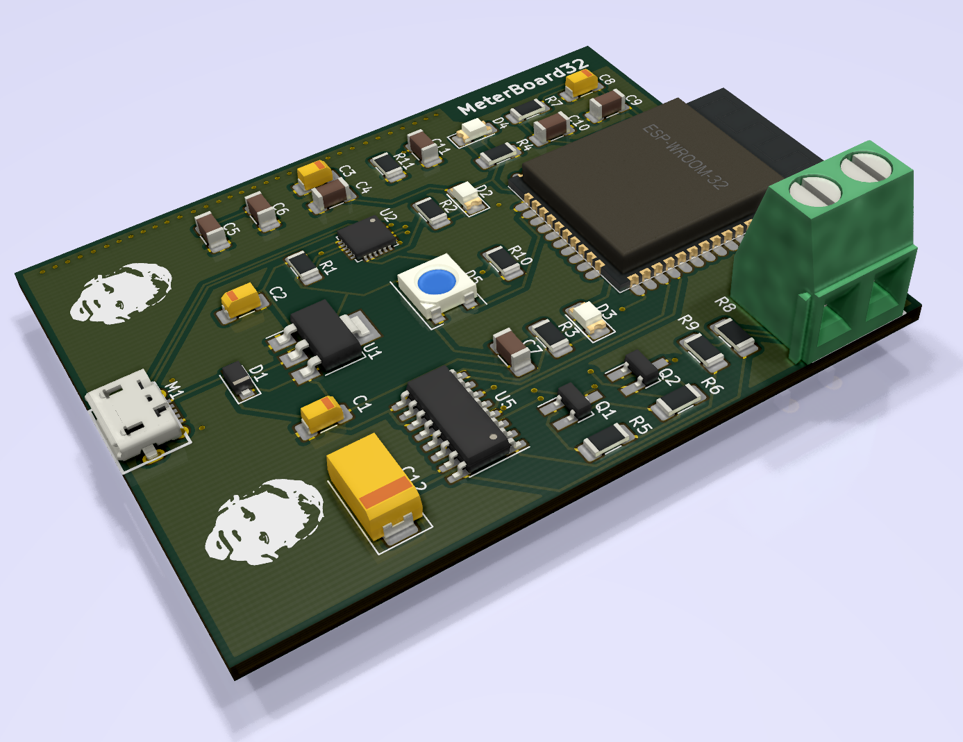 MeterBoard32 PCB 3D View
