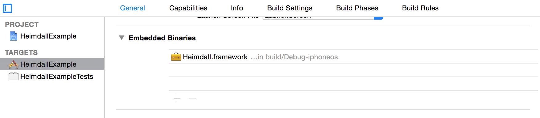 Embedded Binaries under application target settings