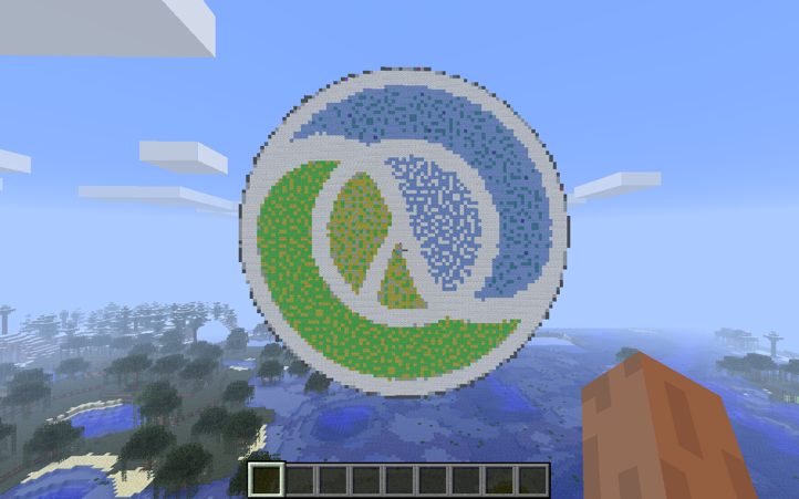 Clojure logo in Minecraft