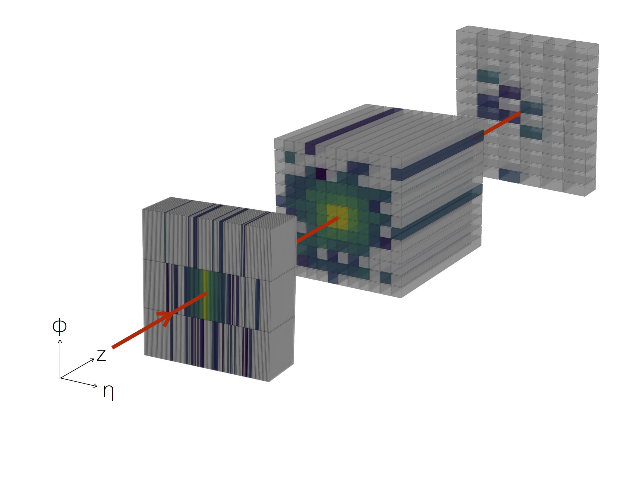 3D shower in the EM calorimeter