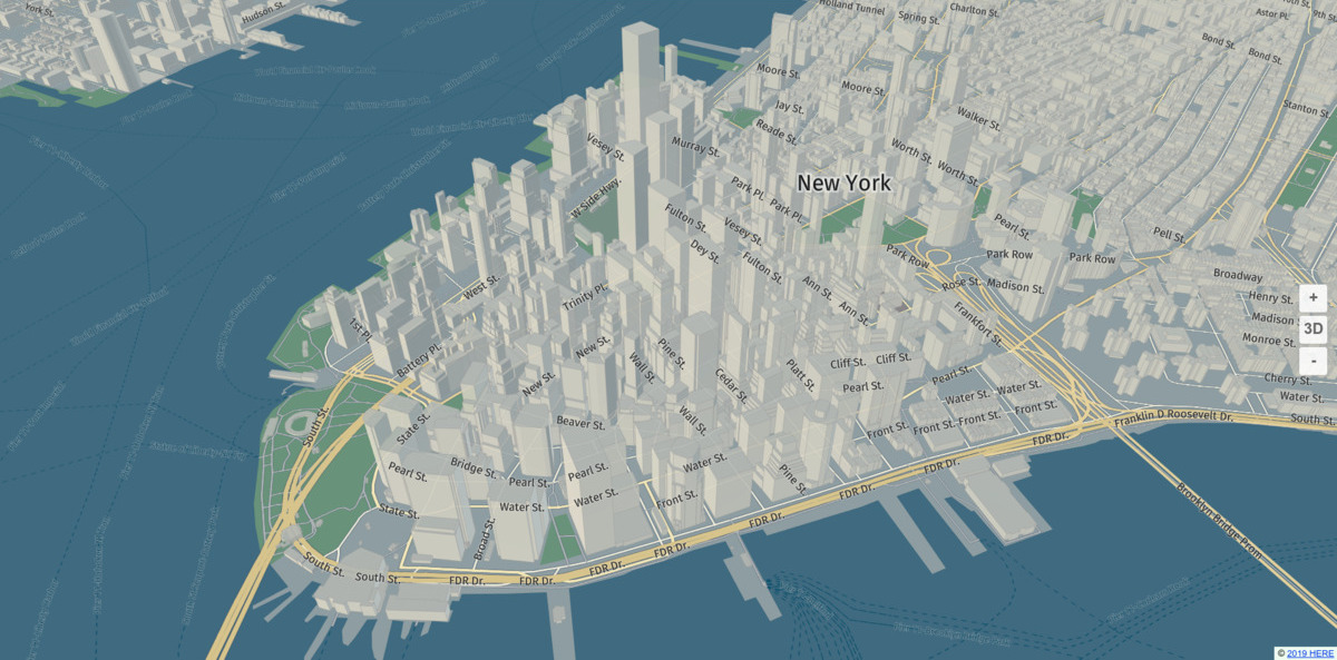 New York City rendered with our default style