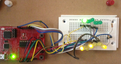 Binary clock on breadboard