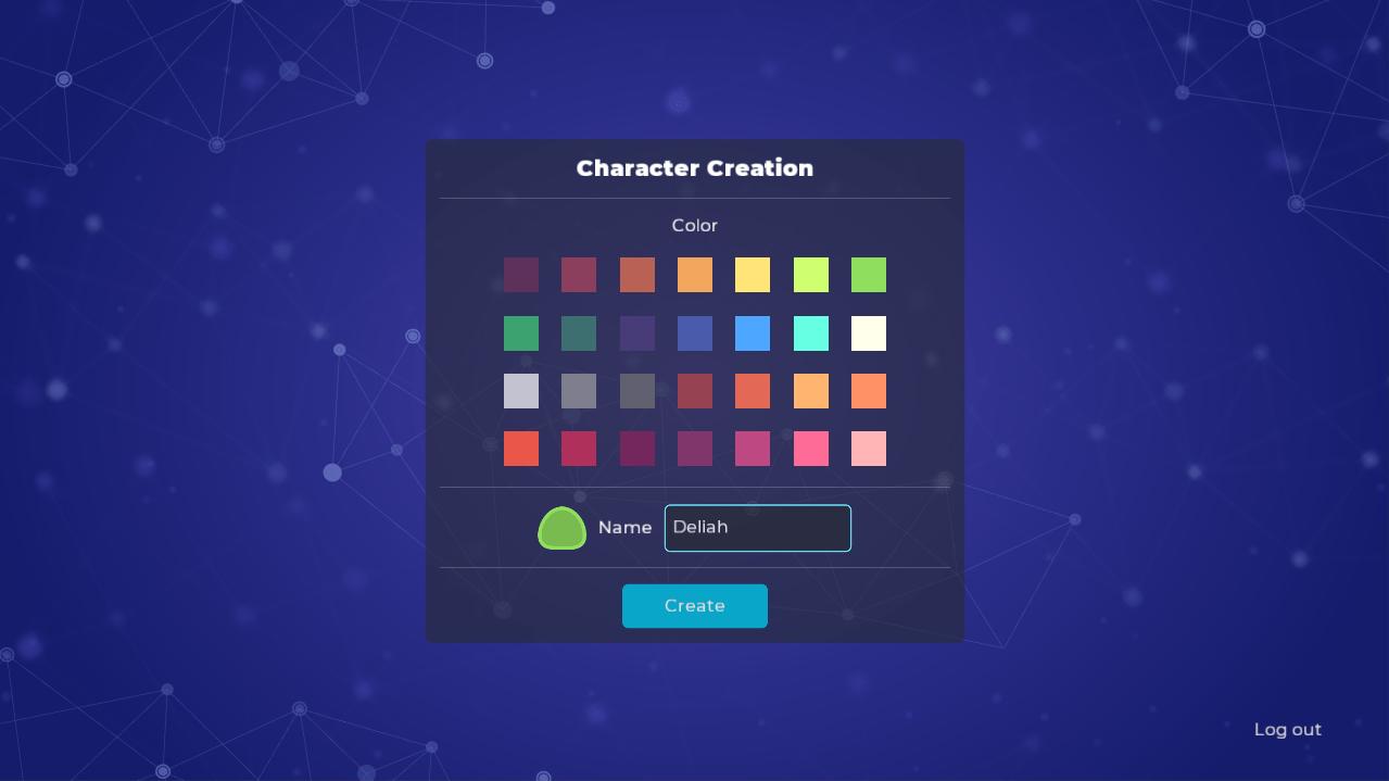 Character creation screen