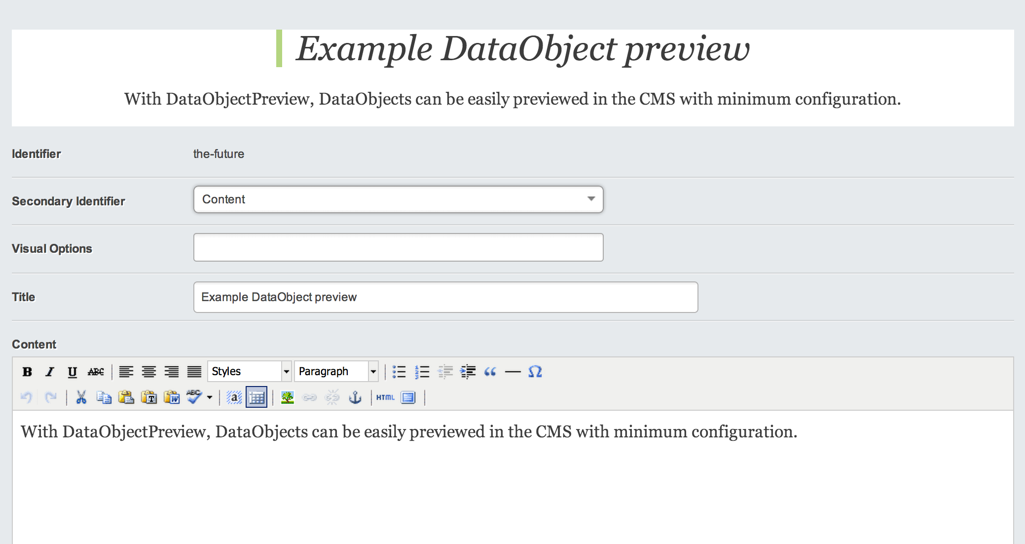 DataObject Preview Example