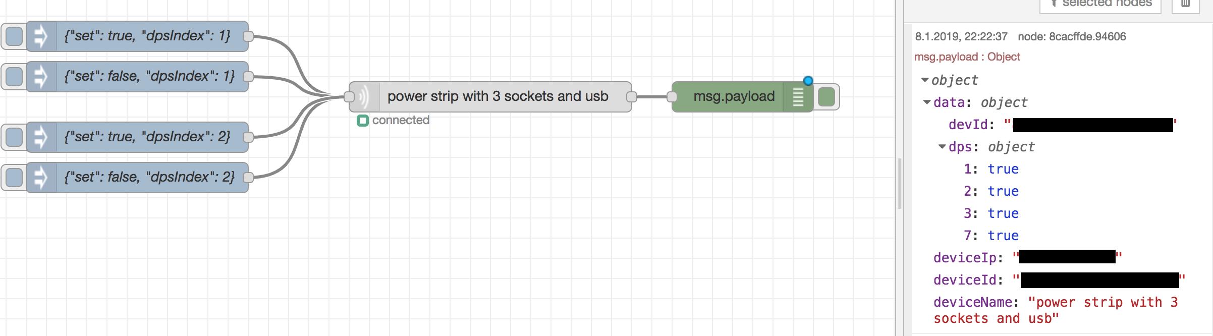 powerstrip input node with input and output format