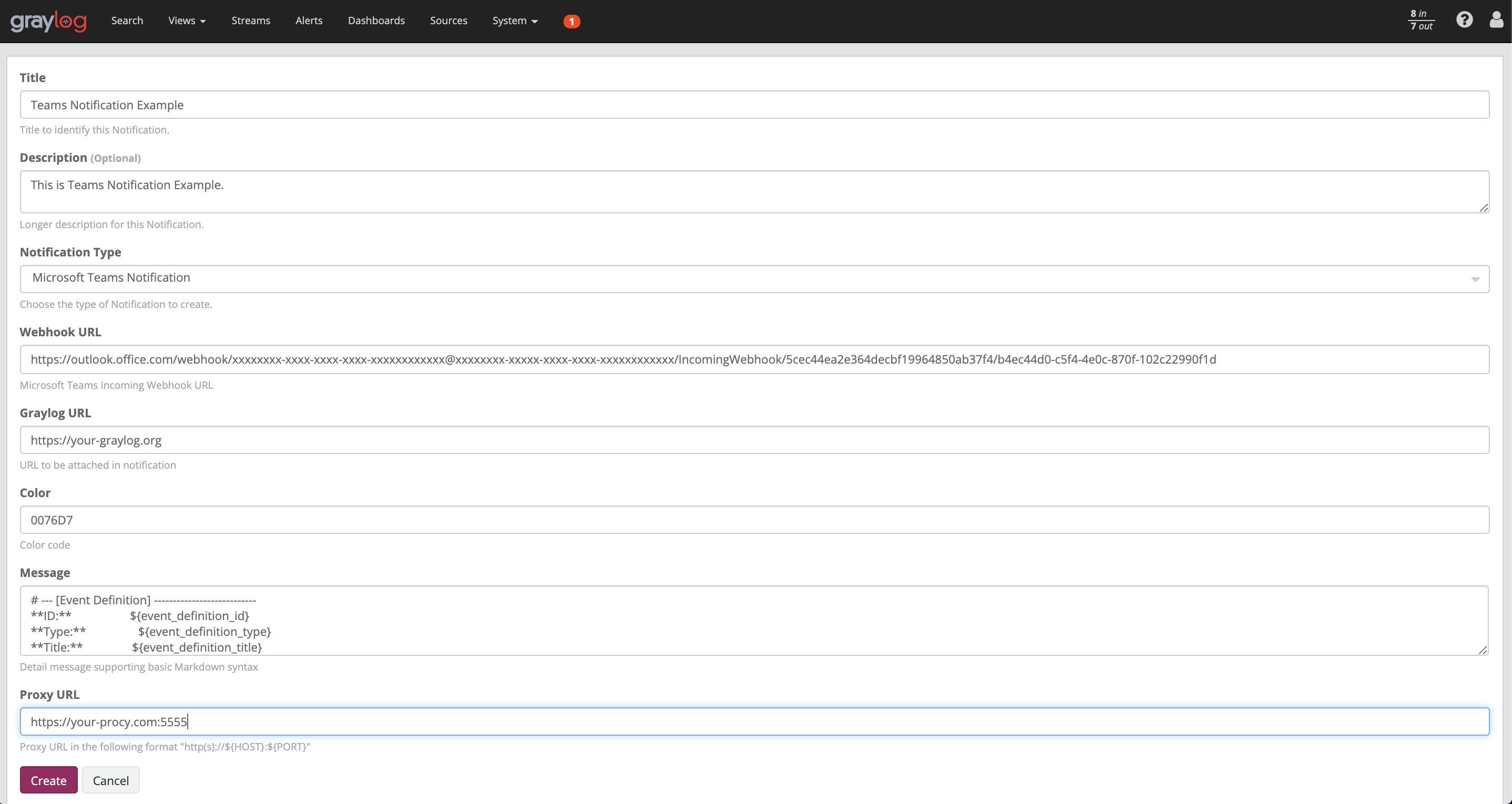 Teams notification configuraiton