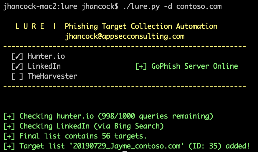 Lure Command Line