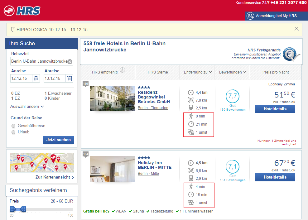 Screenshot of hrs.de with HotelRoute information