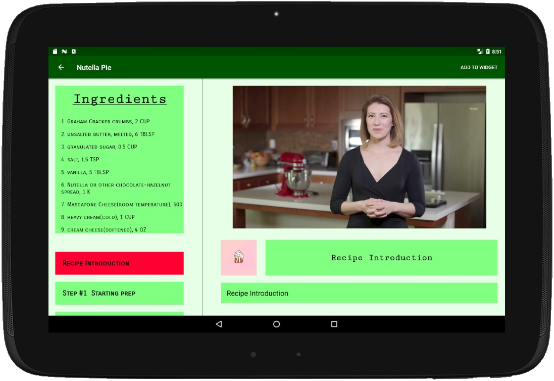 Select and View Recipe Step Detail (Tablet)