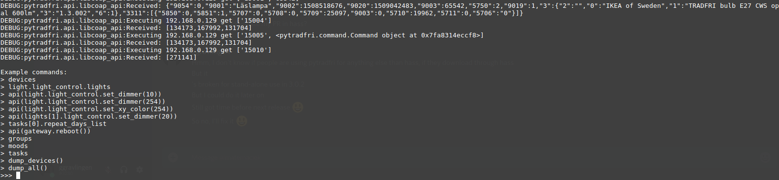 Screenshot of command line interface