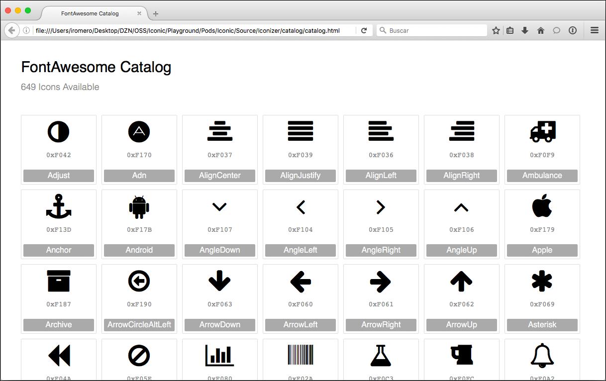 Icon Font Catalog