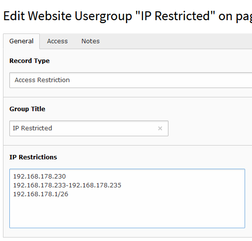 IP Access Restriction in Backend